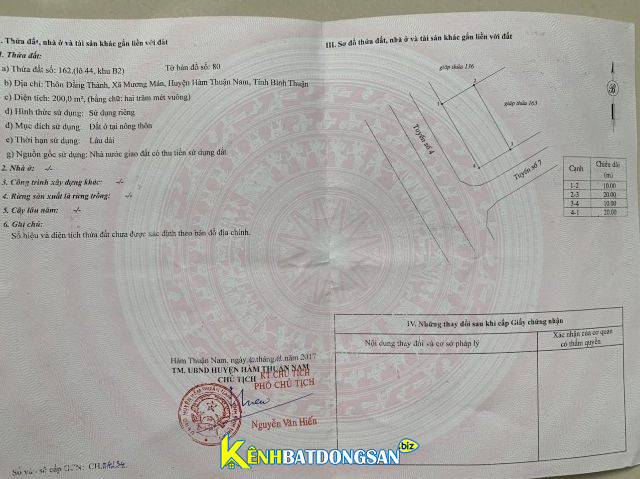 Bán đất sổ hồng chính chủ Hàm Thuận Nam, Bình Thuận 10x20m giá 850 triệu